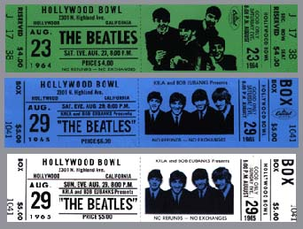 Early Ticket Designs Used For The Cover Of The Hollywood Bowl Album. Click  For Enlargement.  Concert Ticket Design