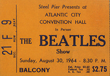 Beatles concert tickets atlantic city 8 30 64 for Balcony unreserved