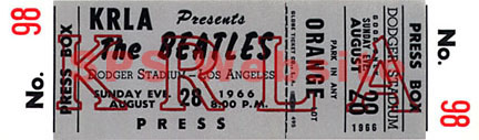 Beatles Concert Tickets - Los Angeles 8/28/66